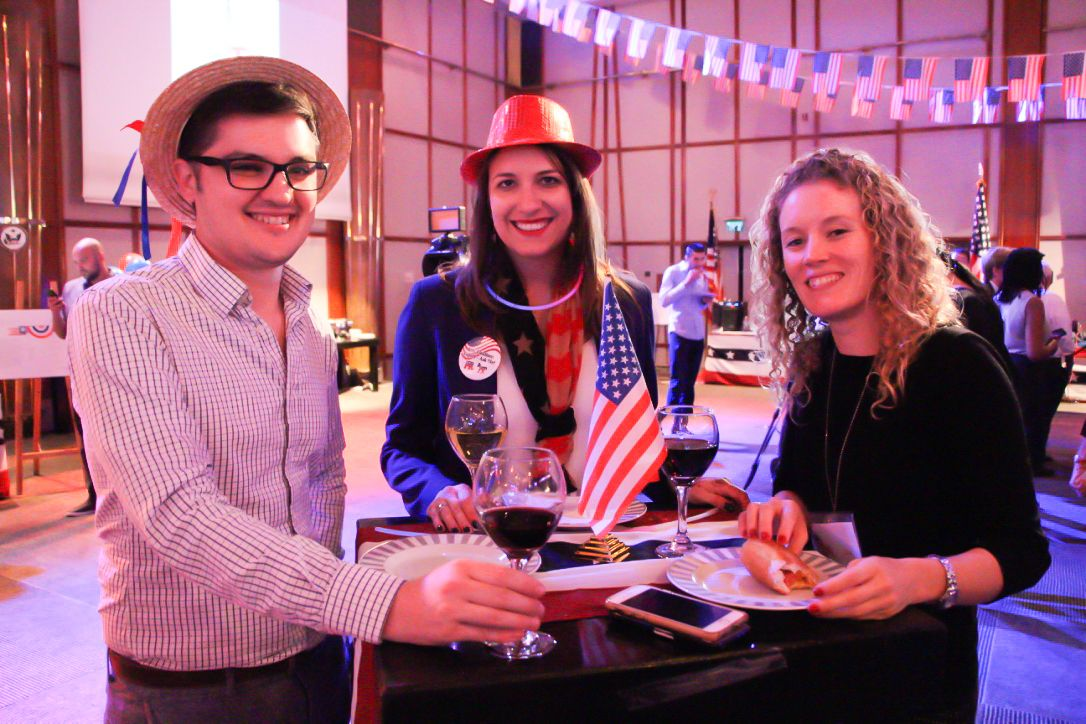 People attend the US Embassy election party in Tel Aviv on November 8, 2016