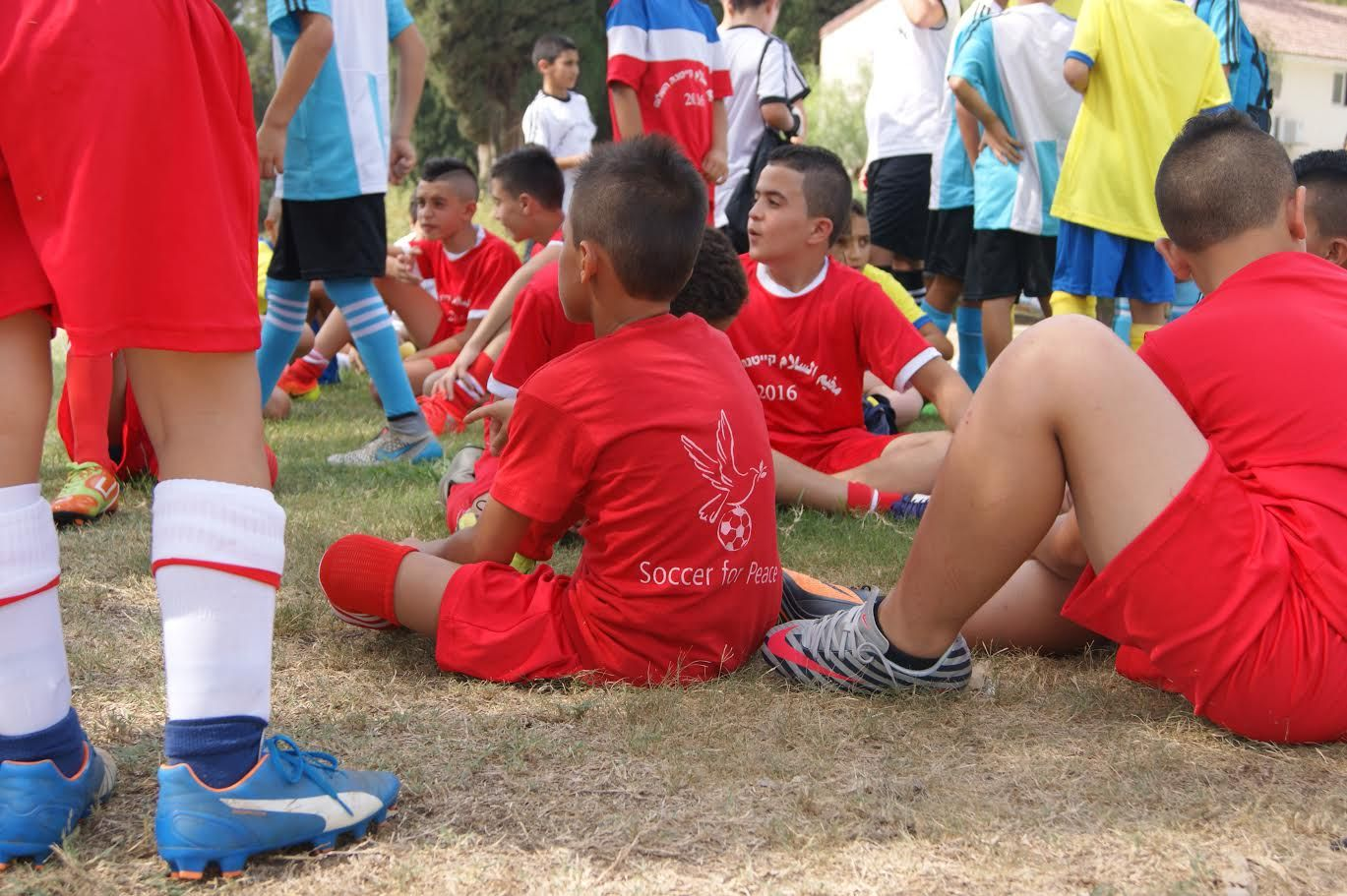 The participants at the Soccer for Peace summer camp were split into different teams, all representing different countries in the world