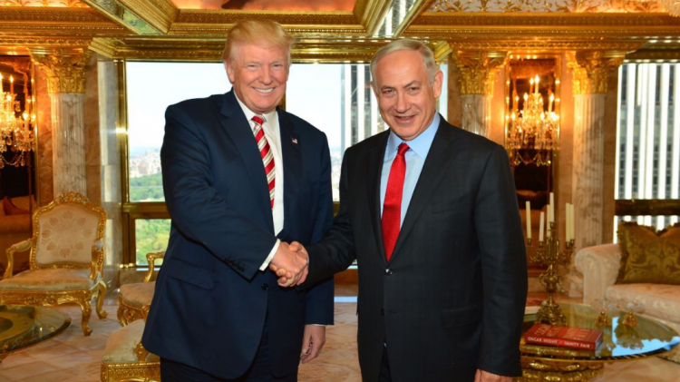 Then-presidential nominee Donald Trump meets Israeli Prime Minister Benjamin Netanyahu at Trump Towers in New York City, September 25, 2016