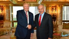 Then-presidential nominee Donald Trump meets Israeli Prime Minister Benjamin Netanyahu at Trump Towers in New York City, September 25, 2016