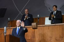 US Vice President Mike Pence greets the audience, together with WJC President Ronald S. Lauder and Israeli Ambassador to UN Danny Danon
