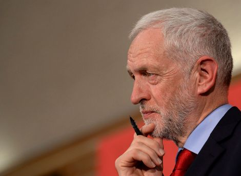 FILE - In this Thursday June 1, 2017 file photo, Britain's Labour Party leader Jeremy Corbyn, looks on during a speech on Brexit while on the General Election campaign trail in Basildon, England.