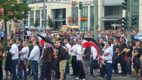 Neo-Nazis march in Germany on August 19, 2017