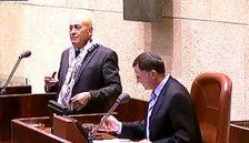 Balad MK Basel Ghattas and Knesset Speaker Yuli Edelstein on November 12, 2014