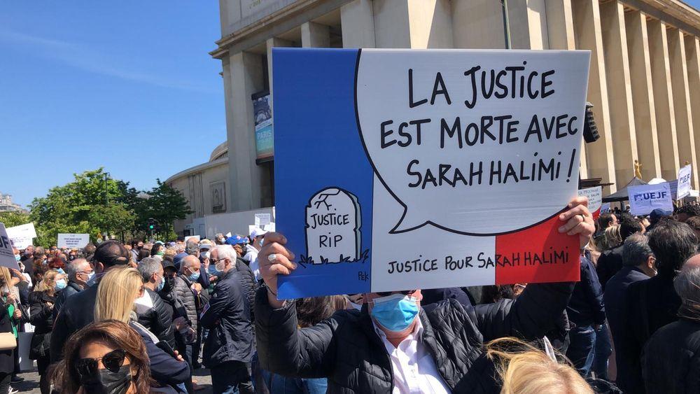 Rassemblement pour pour contester l'absence de procès après le meurtre de Sarah Halimi, à Paris, le 25 avril 2021