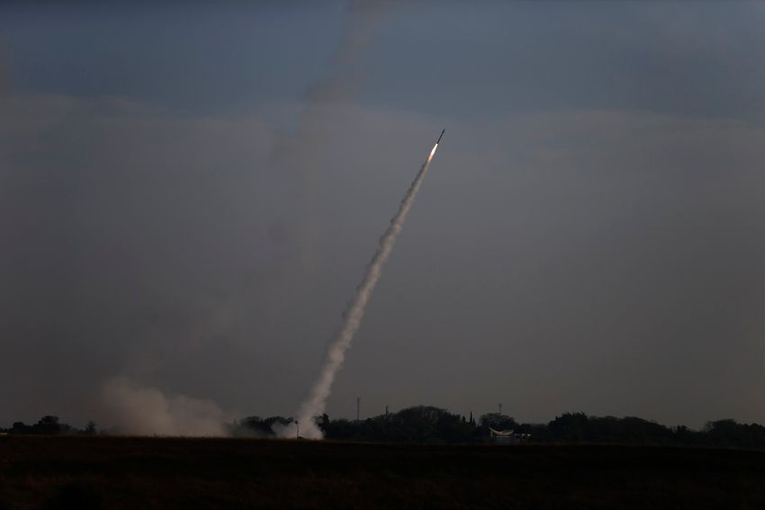 Israeli Iron Dome air defense system launches to intercept rocket fro Gaza Strip, near Israel and Gaza border, Sunday, May 5, 2019.