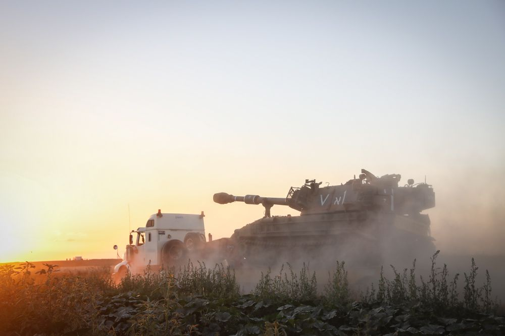 Bringing more IDF tanks to the border with Gaza, Southern Israel, following heavy rocket and missile barrage fired into Israel by terrorists in Gaza, May 13, 2021.