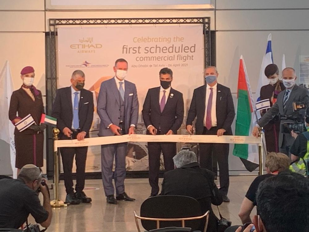 The inauguration of the Abu Dhabi-Tel Aviv airline, in Ben Gurion Airport, Israel, on April 6, 2021.