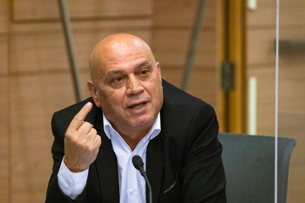 Mk Issawi Frej speaks during a faction meeting at the Israeli parliament in Jerusalem on October 18, 2021.
