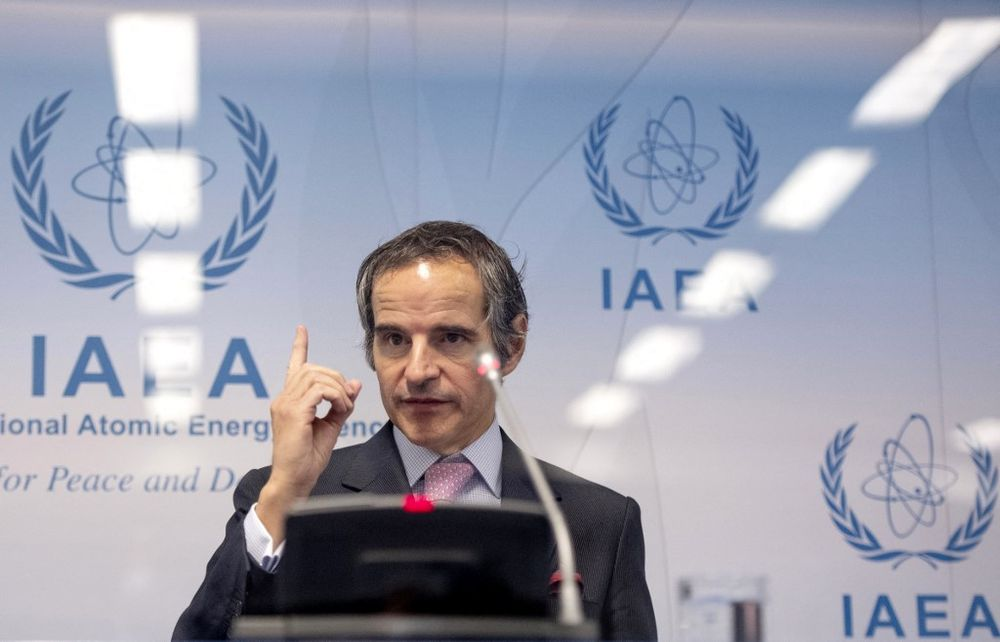 Rafael Grossi, Director General of the International Atomic Energy Agency (IAEA), gestures during a press conference shortly after the IAEA Board of Governors meeting at the agency's headquarters in Vienna, Austria on March 1, 2021.