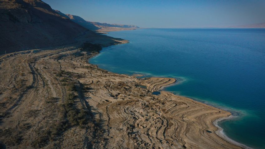 An aerial view shows the Dead Sea shore the dead sea and its surroundings on October 18, 2020.