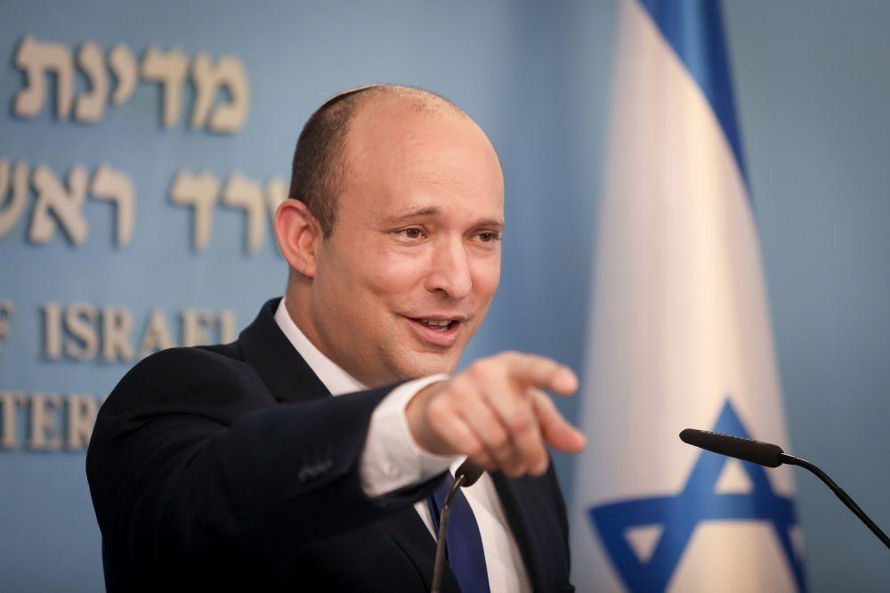 Israeli Prime Minister Naftali Bennett holds a press conference at the Prime Minister's Office in Jerusalem on July 14, 2021.