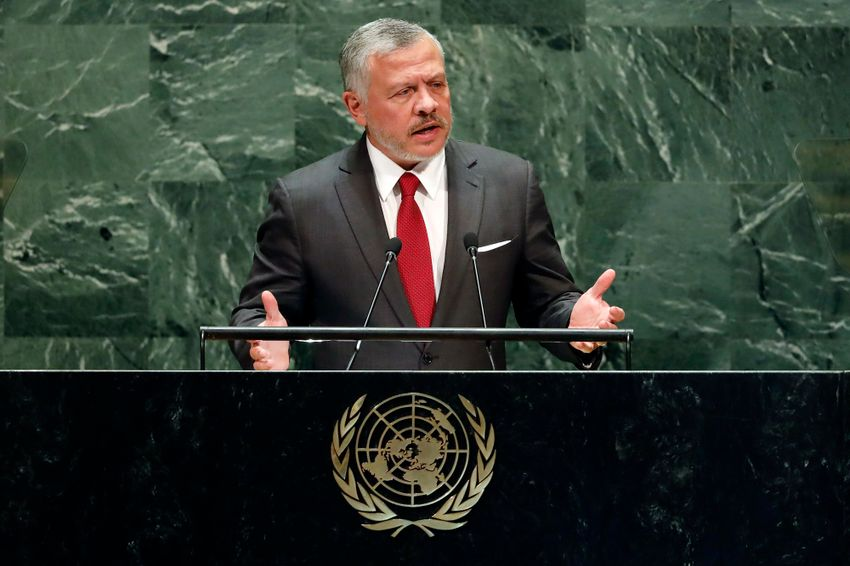 Jordan's King Abdullah II addresses the 74th session of the United Nations General Assembly, Tuesday, Sept. 24, 2019