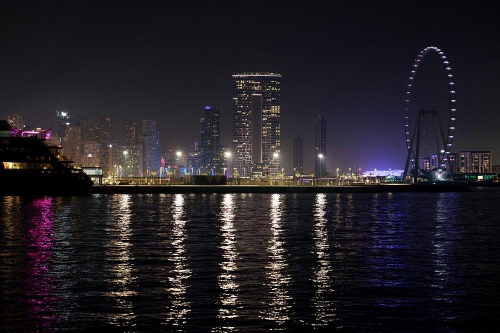 A nighttime view of the Dubai Marina on April 20, 2021.