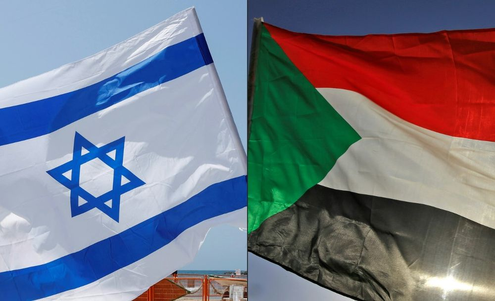 An Israeli flag (L) during a rally in the coastal city of Tel Aviv on September 19, 2020, and a Sudanese flag during a gathering east of the capital Khartoum on June 3, 2020.