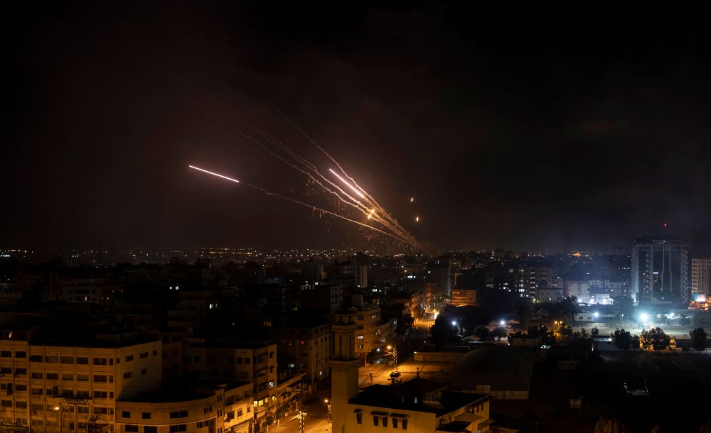 Rockets are launched from the Gaza Strip towards Israel, May 12, 2021.
