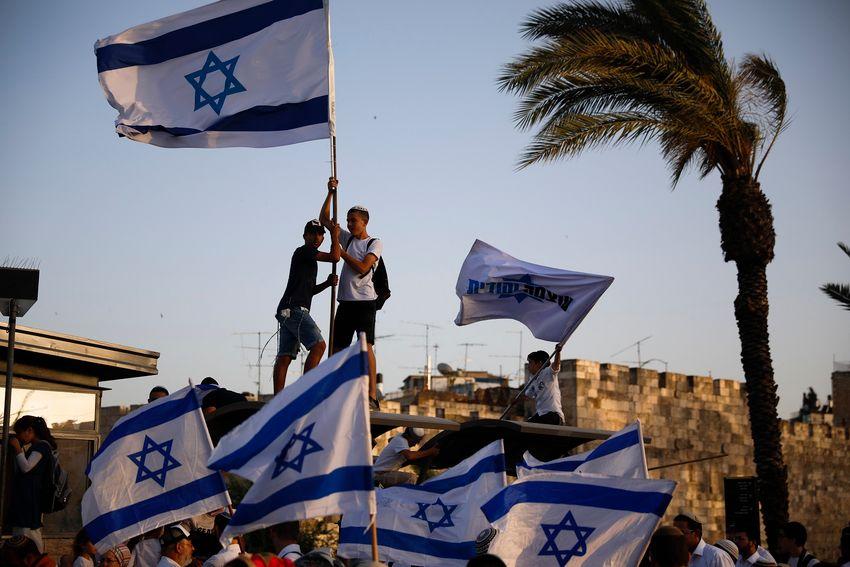 Rassemblement près de la porte de Damas dans la Vieille ville de Jérusalem à l'occasion de la Journée de Jérusalem le 2 juin 2019