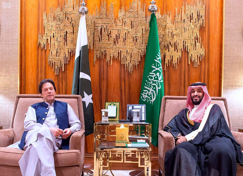 Tuesday, Oct, 15, 2019, Saudi Arabia's Crown Prince Mohammed bin Salman, right, meets with Pakistani Prime Minister Imran Khan, in Riyadh, Saudi Arabia
