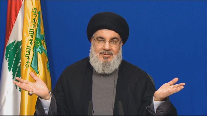 DOSSIER - Hassan Nasrallah, chef de l'organisation terroriste chiite du Hezbollah libanais, prononce un discours télévisé depuis un lieu inconnu au Liban, le 4 mai 2020