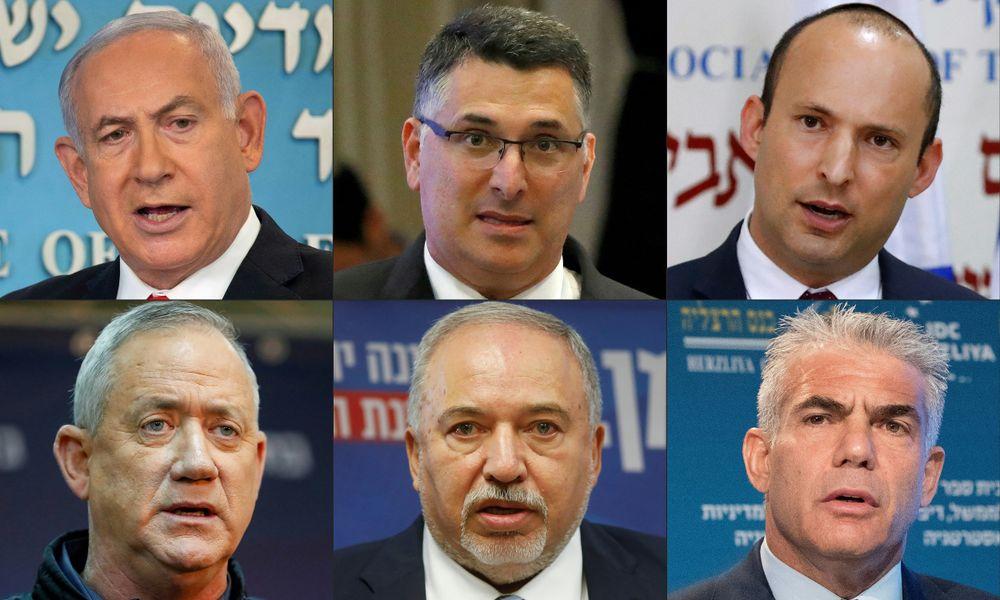 Benyamin Netanyahou, Gideon Saar, Naftali Bennett, Benny Gantz, Avigdor Lieberman, Yair Lapid, le 23 décembre 2020