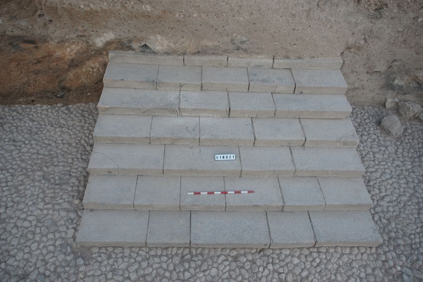 A view of the seven 3,500 years-old basalt stairs discovered at the Tel Hazor excavation site in 2019 by Hebrew University Prof. Amnon Ben-Tur and Dr. Shlomit Bechar.