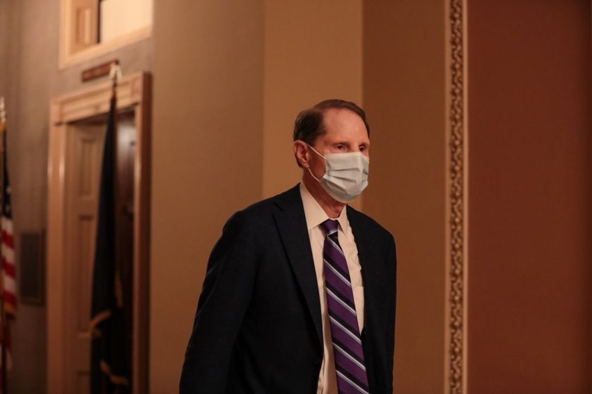 Sen. Ron Wyden (D-OR) walks to the Senate Floor at the US Capitol in Washington, DC, on December 21, 2020.