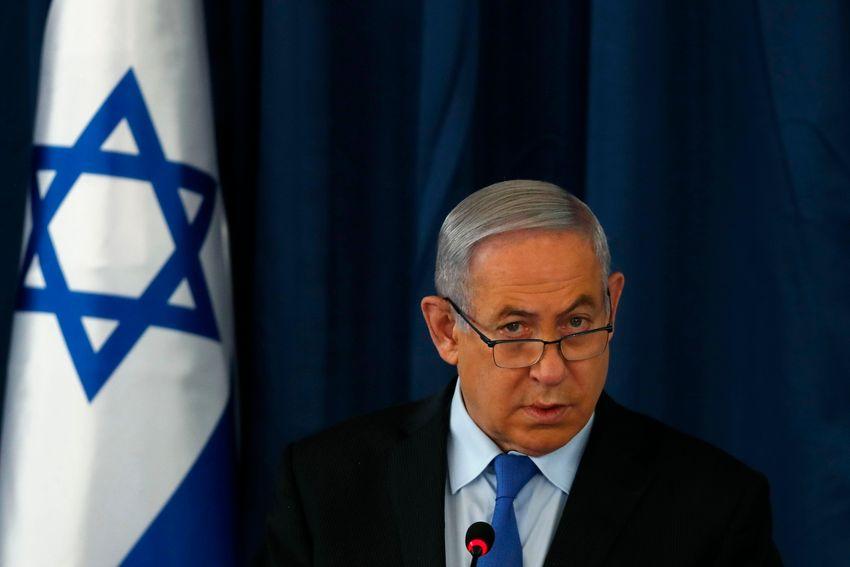 Israeli Prime Minister Benjamin Netanyahu holds the weekly cabinet meeting in Jerusalem, on June 28, 2020.