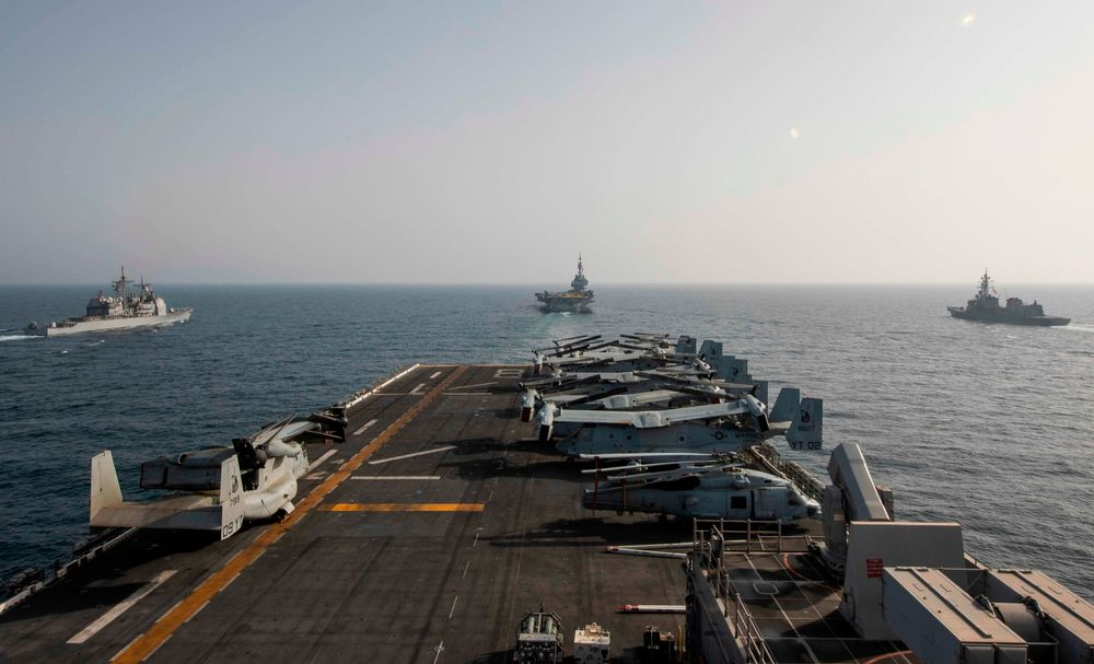 The deck of the amphibious assault ship USS Makin Island is seen in the Arabian Sea on March 19, 2021.