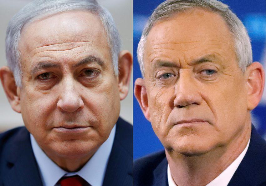 Cette photo d'archive créée le 02 avril 2019 montre le Premier ministre israélien Benyamin Netanyahou (à gauche) et son principal rival aux élections législatives du 17 septembre Benny Gantz
