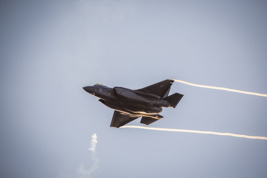 An Israeli F-35 stealth fighter jet at a ceremony for IAF Flight Course graduates at the Hatzerim Air Base in the Negev desert, December 26, 2018.