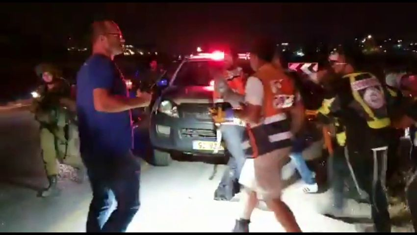Evacuation of the wounded following a suspected car ramming incident in the West Bank town of Hizma, July 6, 2019
