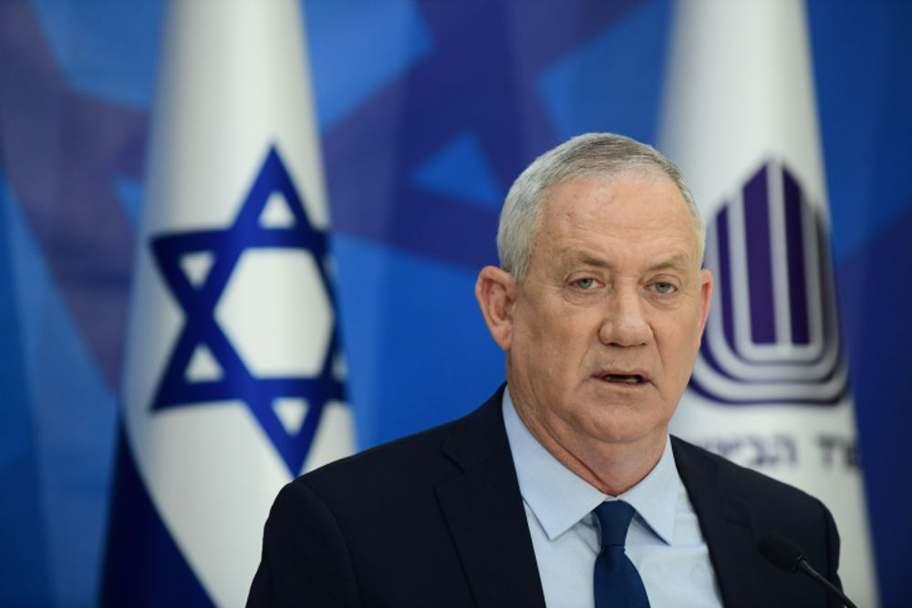 Defense Minister Benny Gantz speaks during a press conference presenting new reforms for Rehabilitation Department, at the Defense Headquarters in Tel Aviv, on April 22, 2021.