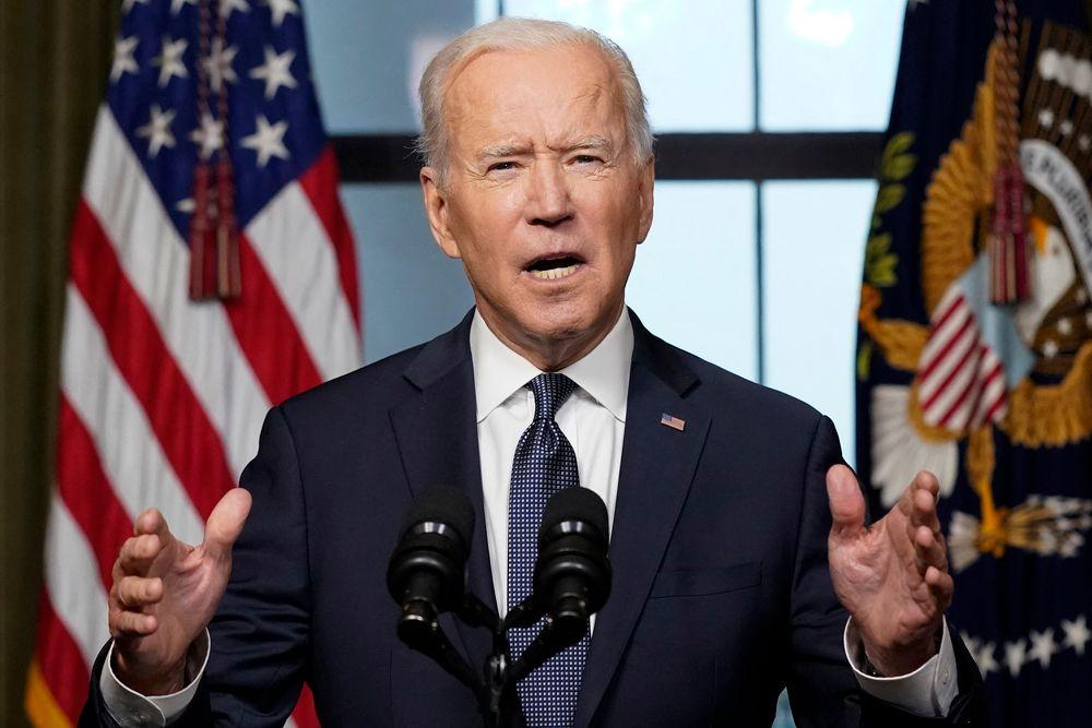 Discours du président américain Joe Biden à la Maison Blanche le 14 avril 2021 à Washington, DC, au sujet du retrait des troupes américaines d'Afghanistan