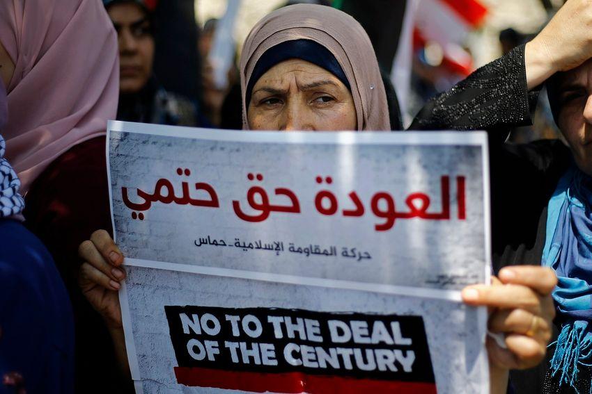 Manifestation organisée par le groupe islamiste Hamas contre l'atelier économique à Bahreïn, mardi 25 juin 2019