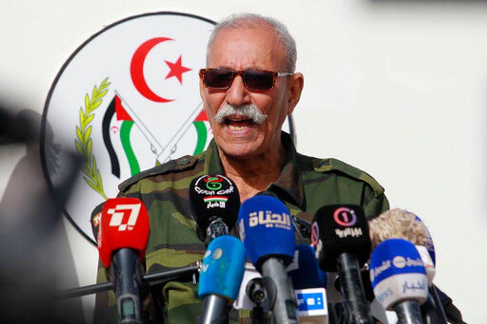إبراهيم غالب رئيس جبهة البوليساريو ، يلقي كلمته خلال الاحتفالات بالذكرى 45 لتأسيس الزراعة والتنمية الريفية المستدامتين ، السبت 27 فبراير 2021 في مخيم للاجئين بالقرب من تندوف ، جنوب الجزائر