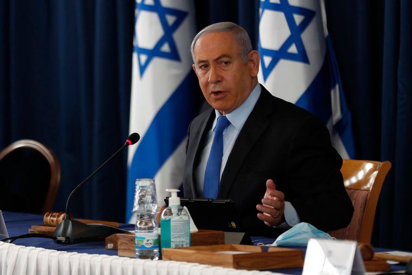 Le Premier ministre israélien Benyamin Netanyahou lors de la réunion hebdomadaire du cabinet à Jérusalem le 28 juin 2020