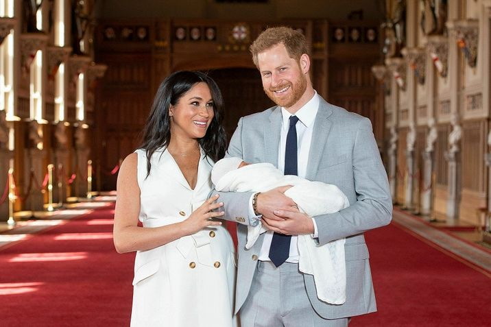 Image result for Prince Harry, Meghan show off their baby boy to the public