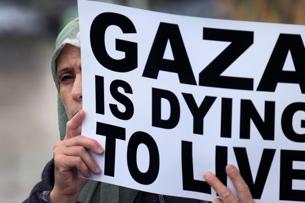 Members of the Muslim community at a rally in support of Palestinians in Gaza on May 14, 2021 in Bridgeview, Ill