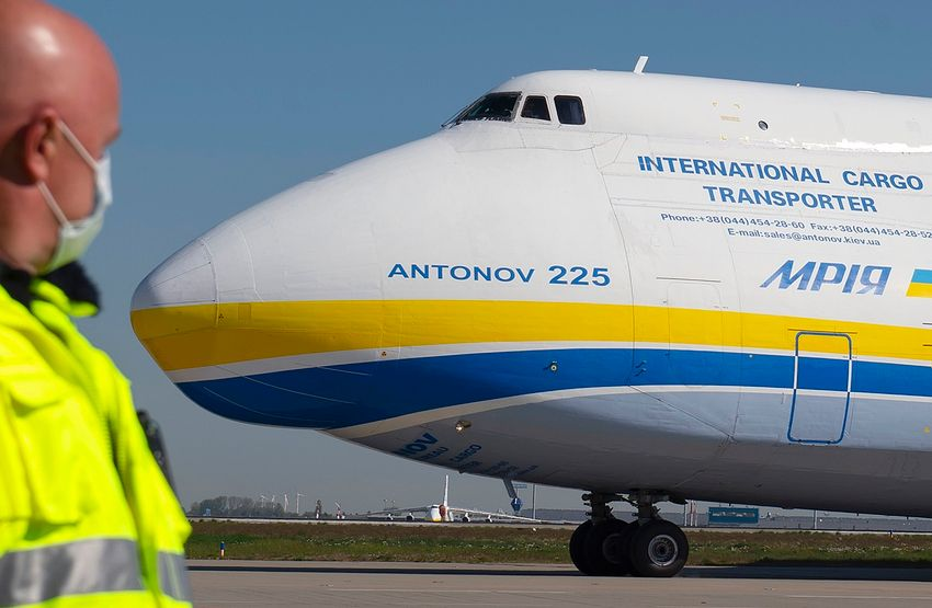 World's largest cargo plane Antonov An-225 arrives to unload more than eight million face masks from China as a Bundeswehr transport to the Leipzig/Halle airport in Leipzig, Germany, on April 27, 2020.